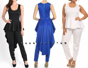 35dd93afdd8 Plus Solid Hi Low Peplum Ruffle Top Skinny Leg Dress Jumpsuit ...