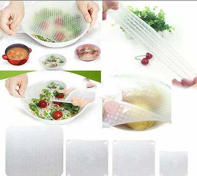 4* Silicone Wraps Seal Cover Stretch Cling Film Food Fresh Keep Kitchen Tools