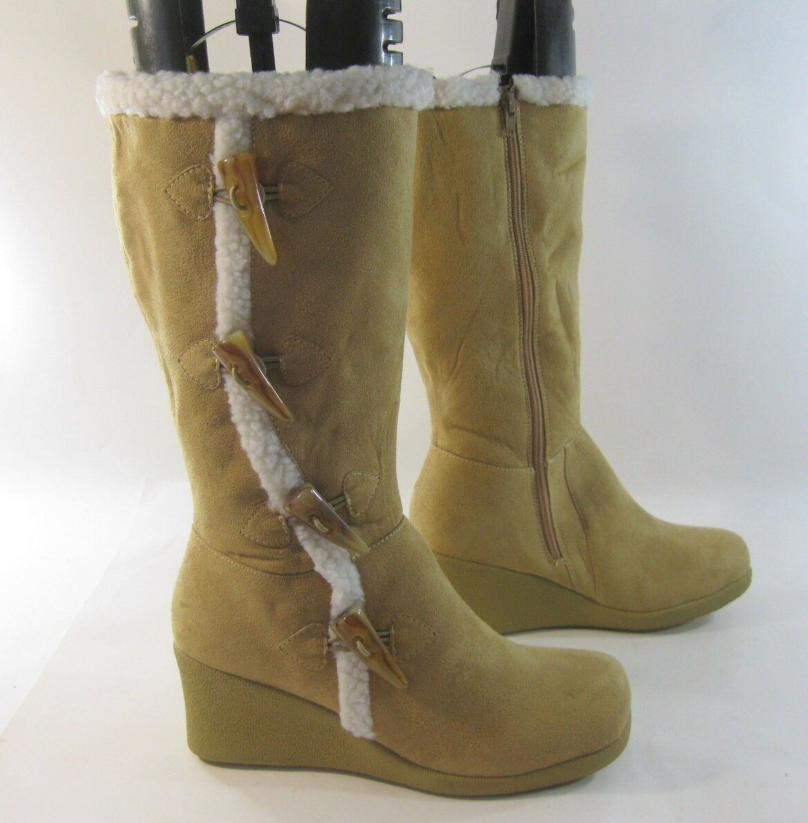 Camel color 3 Wedge Heel Round Toe Mid-Calf Boot Side Button Size 9