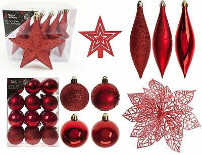 Gold Christmas Tree Decorations Baubles Ornaments Star Tree Topper Glitter Xmas