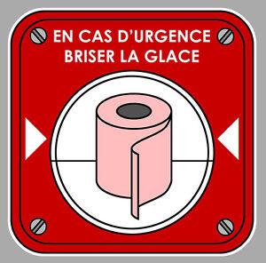 en cas d 39 urgence briser la glace wc humour 12cm autocollant sticker auto ea033 ebay. Black Bedroom Furniture Sets. Home Design Ideas