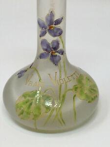 Charles Grant Paris Rare Vase Publicitaire Verre Emaillé Aux Violettes Vers 1900