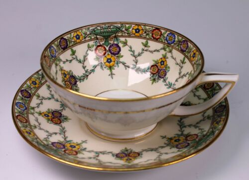 Minton Gold Trimmed Enameled Cup and Saucer - INCREDIBLE - Rare K212