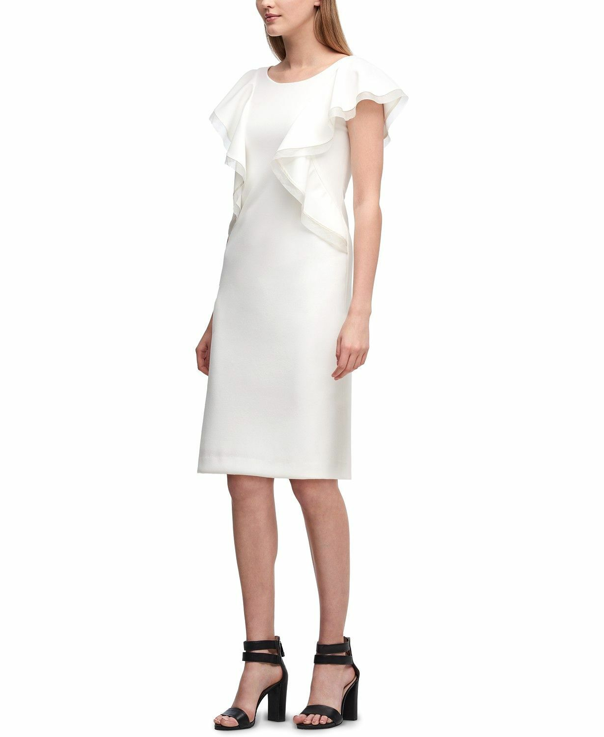 460 DKNY WOMEN'S WHITE RUFFLED SCUBA CREPE SHEATH SLEEVELESS DRESS SIZE 4