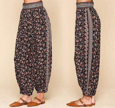 GiGio By UMGEE Ethnic Yoga Harem Jogger Pants High Waist Boho Print Gypsy Rayon