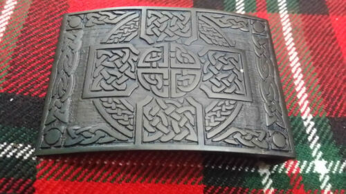TC Highland Kilt Belt Buckle Cross Knot Work Black Finish//Celtic Kilt Buckle