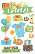 PAPER HOUSE FIRST 1ST BIRTHDAY - BOY BABY DIMENSIONAL 3D SCRAPBOOK STICKERS