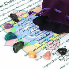 Crystal Chakra Healing Stones Set of 7 Tumbled Reiki Gemstones in Velvet Pouch