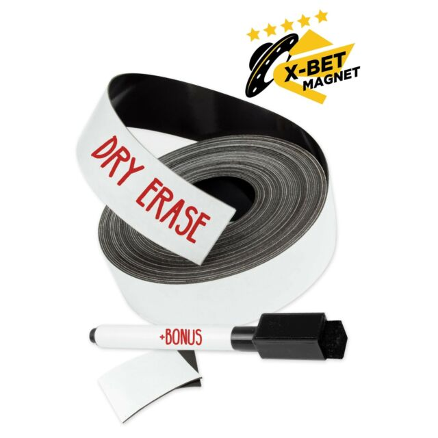 dry erase magnetic strips  1 inch x 25 feet magnetic tape