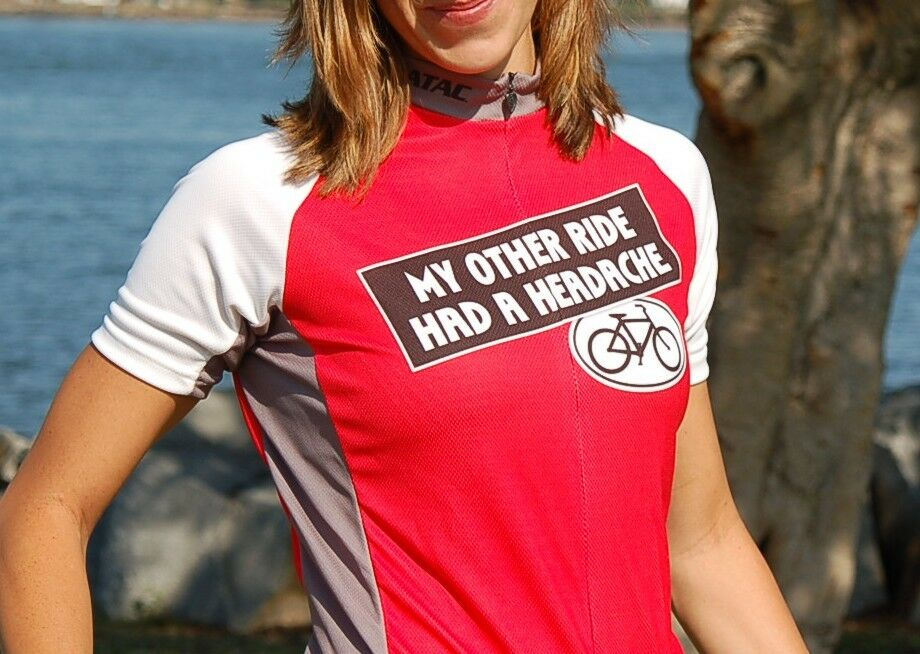 My Other Ride Had A Headache  Brand-New Funny Women's Bicycle Jersey