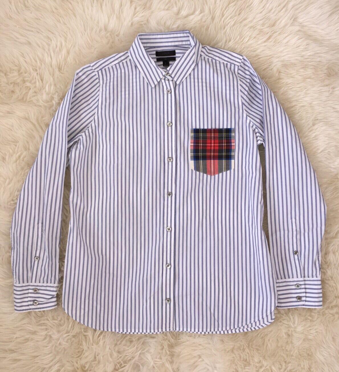 JCREW striped boy shirt with tartan pocket F8448 10 Weiß Blau SOLD-OUT