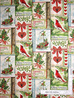 Seasons Greetings Christmas diagonal wavy stripe metallic FabriQuilt fabric