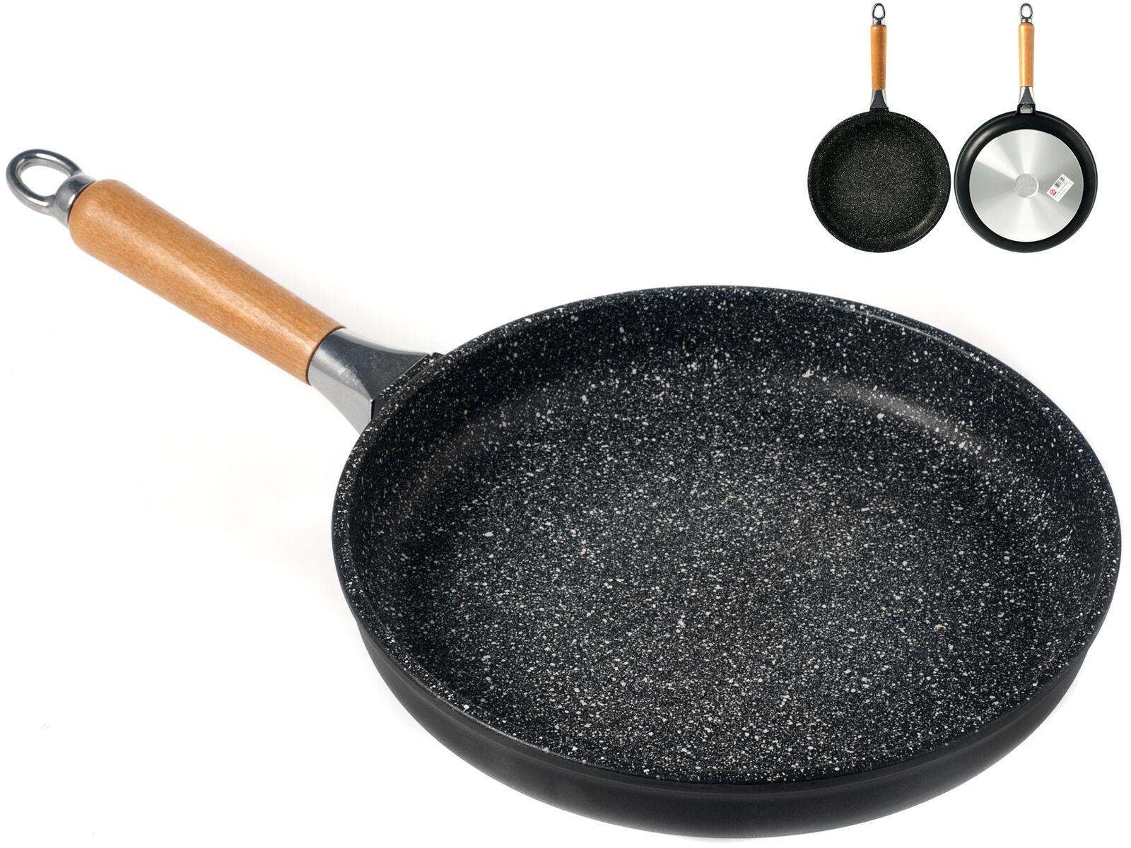H&H Padella Bassa Antiaderente Pietra Manico In Legno Cm28 pentola da cucina
