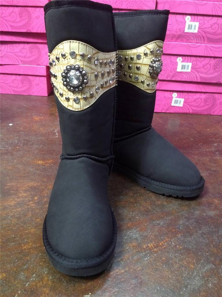 Western Rhinestone Concho Blk Boots Fur Lining Ladies Comfort Shoes Size 7 & 9