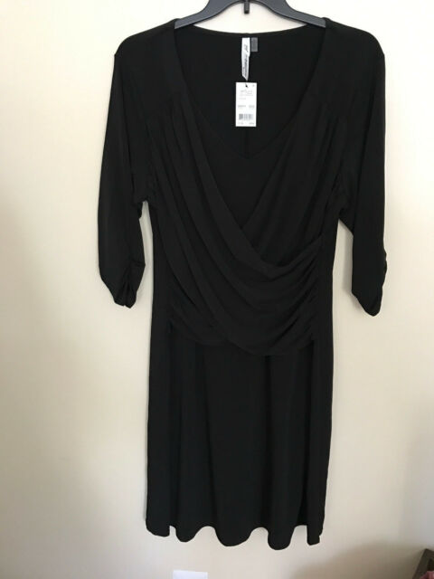 Ny Collection Plus Size Dress 2x 34 Sleeve Ruched Detail Black 2nd