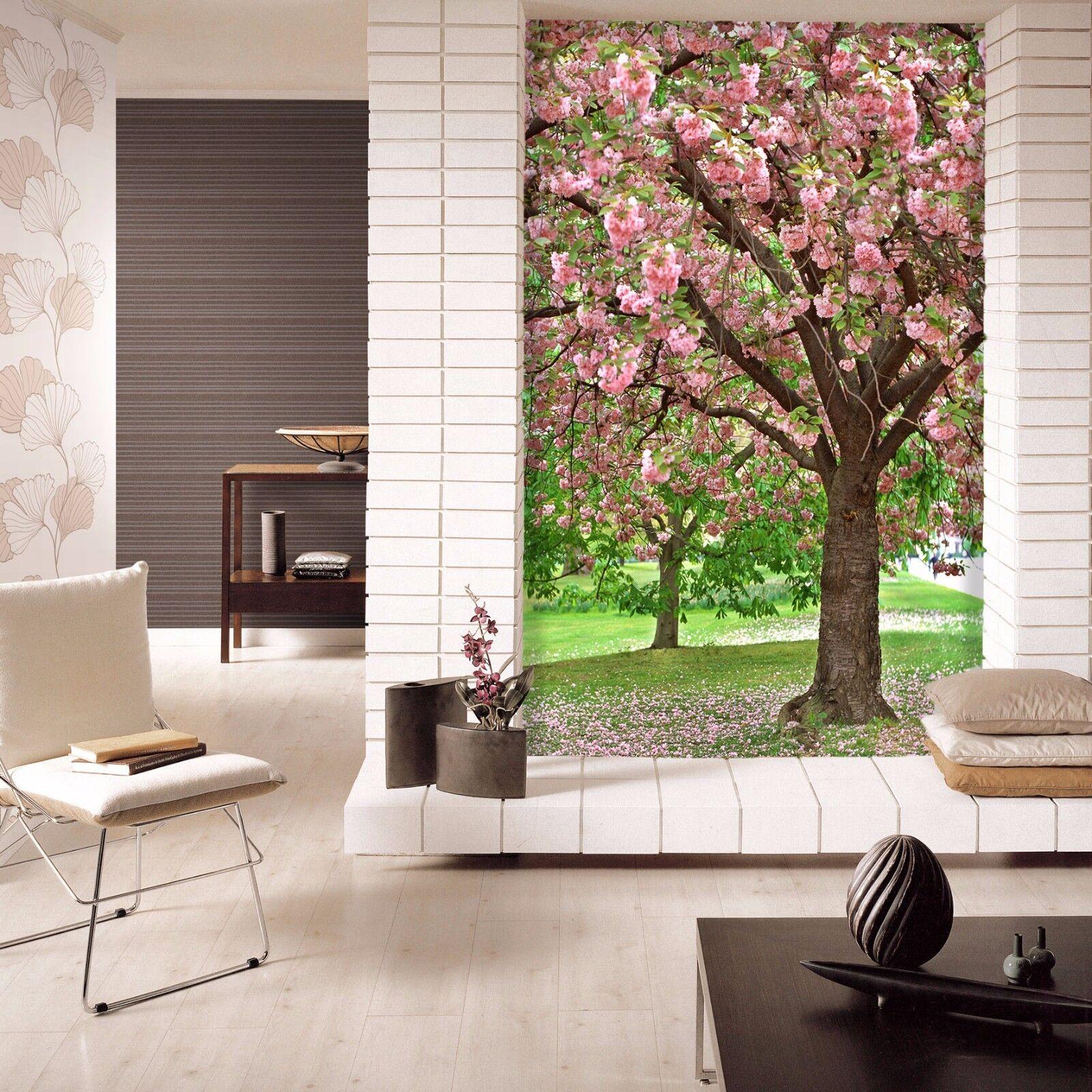 3D Rosa Blühender Baum 754 Tapete Wandgemälde Tapete Tapeten Bild Familie DE | Mittlere Kosten  | Fuxin  | Großartig