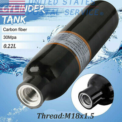 Ultralight Airsoft PCP 0.3L 4500Psi Carbon Fiber Cylinder Tank For Holiday Scuba