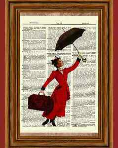 Mary Poppins Dictionary Art Picture Poster Julie Andrews Disney Umbrella Musical