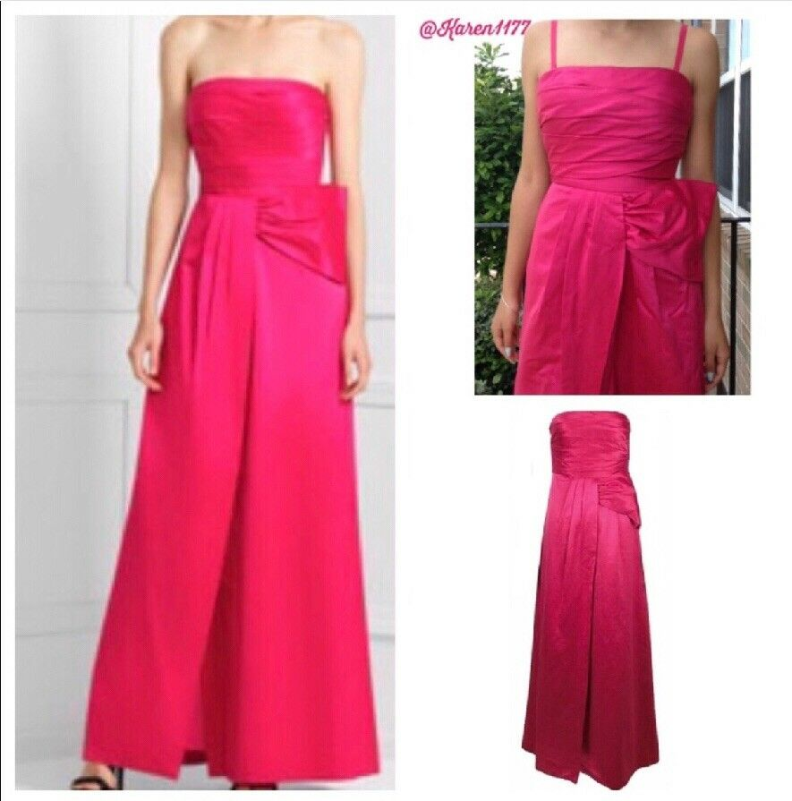 Bcbgmaxazria Pink Begonia Bow Gown Long bridesmaid Wedding Dress Fashion New
