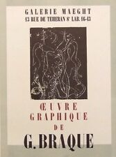 """GEORGES BRAQUE mounted Mourlot lithograph 1959 Affiches Originales 14 x 11"""" AO02"""