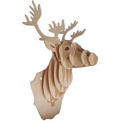 Modell Wand 3D Holz Tier Hirschkopf Holzbearbeitung Konstruktion Set