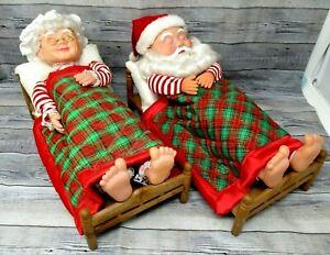 Vintage Christmas Santa Mrs Claus Sleeping Snoring Figures 12in *not working