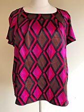 JM COLLECTION Plus Size 24W Pink Magenta Brown Fuchsia Diamond Satiny Blouse Top
