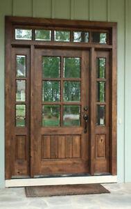 Knotty Alder 6 Lite Mission Style Entry Door Unit 36 39 X80