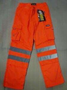Hi Viz Work Combat Safety Cargo Trouser Pants Highways Rail Worker Knee Pocket