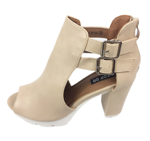 Womens Ladies Beige Faux Leather High Heel Peep Toe Sandals Shoes Size UK 7 New