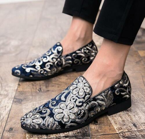 Men British Stylish Loafers Gold Wedding Party New Dress Casual Floral Shoes Hot