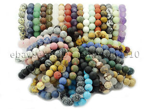 Handmade-12mm-Matte-Frosted-Natural-Gemstones-Round-Beads-Stretchy-Bracelet