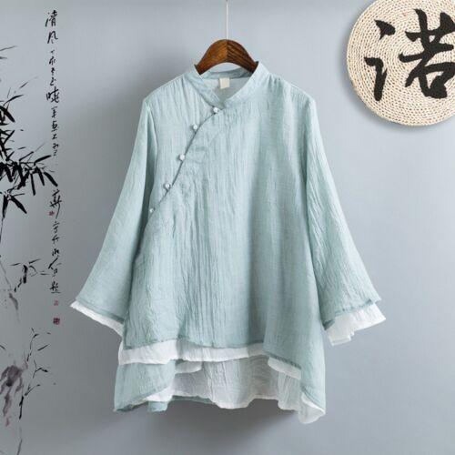 Women Loose Irregular Cotton Linen Shirt Chinese Vintage 2 Layers Blouse Top