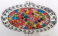 Multi-color Oval Style Stretch Ring Crystal Rhinestone Fashion Jewelry Rd52