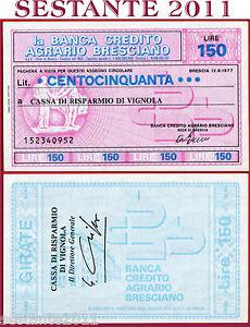 Copieux B. Credito Agrario Bresciano Lire 150 12.9. 1977 Cassa Risparmio Vignola Fds B34 La Qualité D'Abord