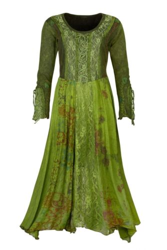 Kleid  Elfe Pixie Elbe Goa Psy Witchy Pagan Schnürung Zipfel  38 40 42 44 46 NEU
