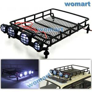 110 rc metal luggage roof rack w led light bar for rc 4wd axial image is loading 1 10 rc metal luggage roof rack w aloadofball Choice Image