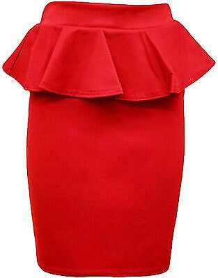 New Womens  Waist Peplum Flared Frill Midi Pencil Party Skirts
