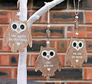 Vintage-Shabby-Chic-Style-Wooden-Hanging-Owl-Heart-Decoration-Choice-of-Design