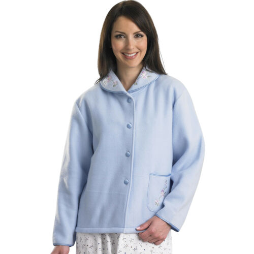 Slenderella Ladies Polar Fleece Button Up Bed Jacket Floral Satin Trim Housecoat