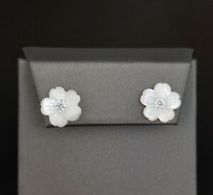 925-Sterling-Silver-White-Mother-Of-Pearl-Diamond-Accent-Flower-Stud-Earrings