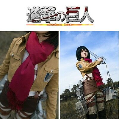 Attack On Titan Mikasa Ackerman's Scarf Wrap Shawl Tassel  Cosplay Costume
