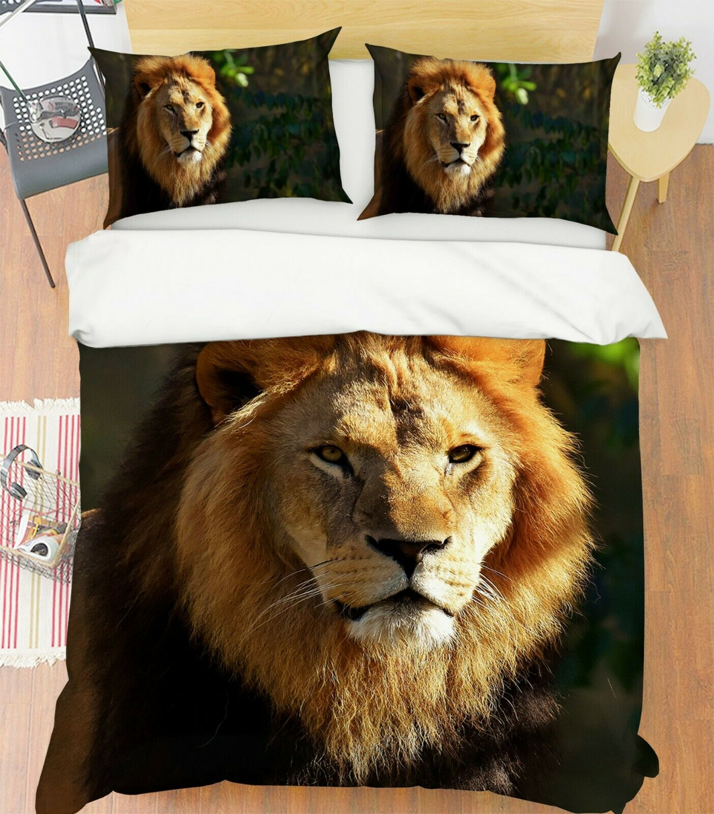 3D Lion Beast O76 Animal Bed Pillowcases Quilt Duvet Cover Set Queen King Amy