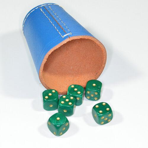 Jeux De Frobis 5 Cube Tasses//facistes de bleu cuir avec 30 Dés