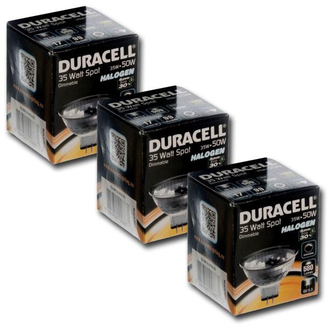 3x Duracell 35w = 50w Eco Économie D'Énergie MR16 Halogène Spot Spots 12v