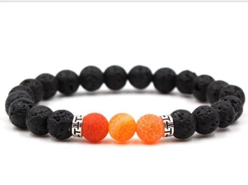 Mala Handmade spiritualité reiki énergie 8 mm Orange Lave Volcanique Stone Bracelet