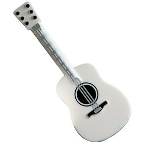 Lego New White Minifigure Guitar Acoustic Silver Strings Musical Instrument