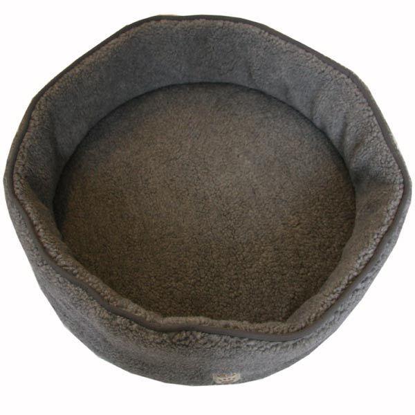 Hundebett  Hundeliege  ⌀ 80 cm Schafwolle Schlafplatz für Hunde