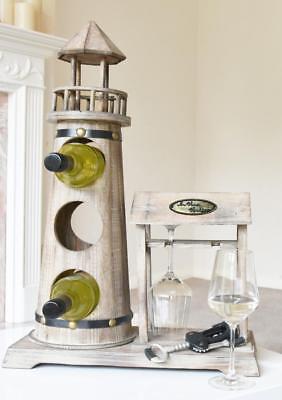 Flaschenhalter Leuchtturm Weinflaschenhalter  Flaschenhalter mit Uhr
