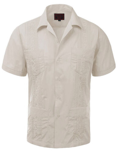 Guayabera Men/'s Cuban Beach Wedding Short Sleeve Button-Up Casual Dress Shirt